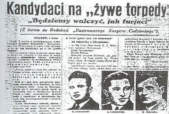 """Kandydaci na """"polskie żywe torpedy"""" napisali list do najpopularniejszego polskiego przedwojennego pisma. Na ich apel odpowiedziało 4,5 tys. osób."""