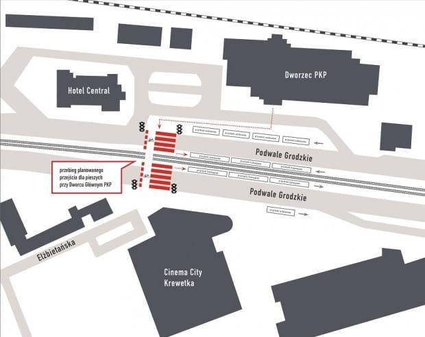 Koncepcja budowy naziemnego przejścia dla pieszych przy Dworcu Głównym jest już gotowa.