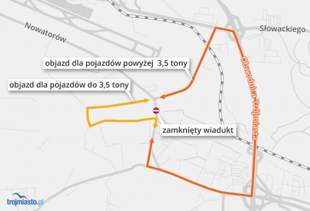Mapa objazdów, wprowadzonych na czas zamknięcia wiaduktu przy ul. Nowatorów w Gdańsku.