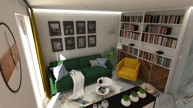 Koncepcja druga. Mieszkanie wykończone jest w jasnych, naturalnych barwach. Uwagę przykuwają meble w intensywnych kolorach.