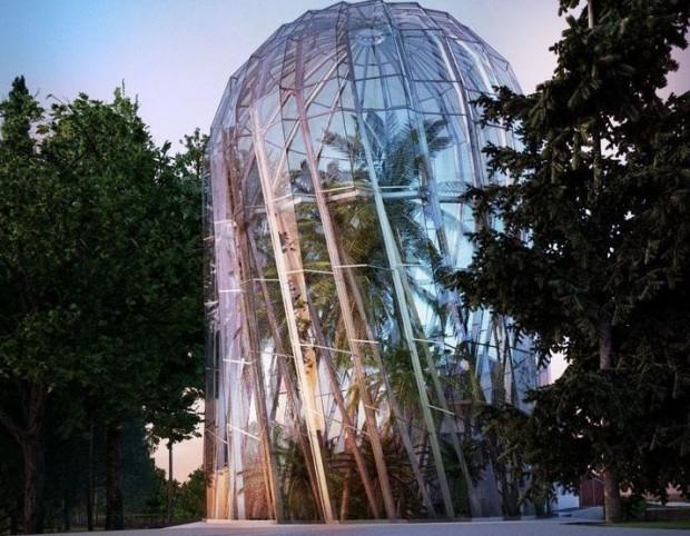 Tak budynek palmiarni prezentował się na wizualizacjach.