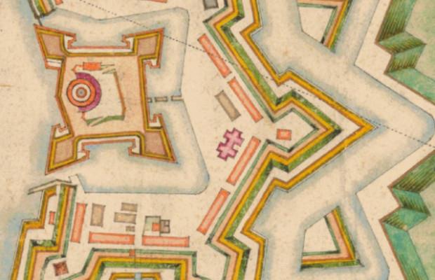 Lokalizacja kościoła św. Olafa na mapie Strakowskiego z 1673 roku