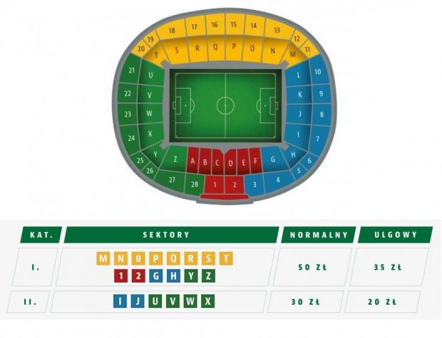 Ceny biletów i rozmieszczenia sektorów na mecz 2. rundy kwalifikacji Ligi Europy 25 lipca na Stadionie Energa Gdańsk.
