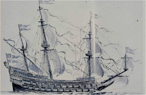 Tak prezentował się po zwodowaniu Vasa, największy w pierwszej połowie XVII wieku na Bałtyku okręt wojenny.