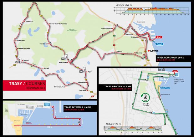 Trasy głównych zawodów Ironman 70