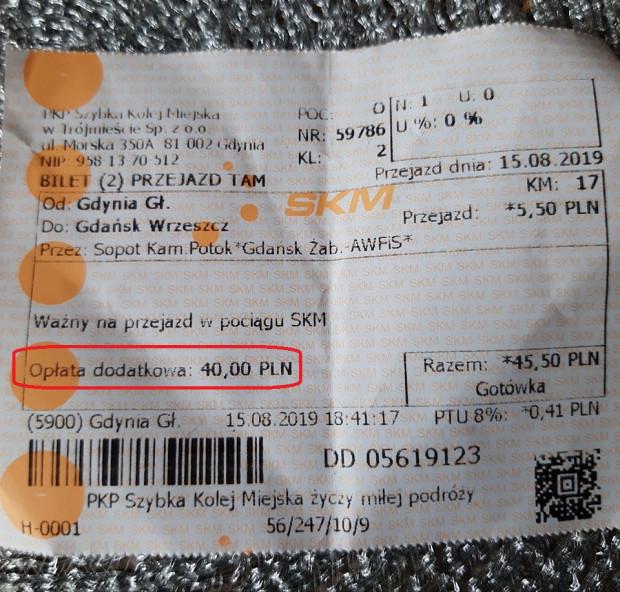 """Widniejąca na bilecie """"opłata dodatkowa"""" to tak naprawdę synonim mandatu za przejazd bez biletu. Kupienie biletu u kierownika pociągu w SKM kosztuje 2 zł 80 groszy."""