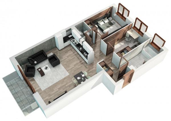 Trzypokojowe mieszkanie na osiedlu Park Emilii to obszerna strefa dzienna, sypialnia i jeden dodatkowy pokój - dla dziecka, gości lub na gabinet do pracy. Komfort poprawia również osobna toaleta.