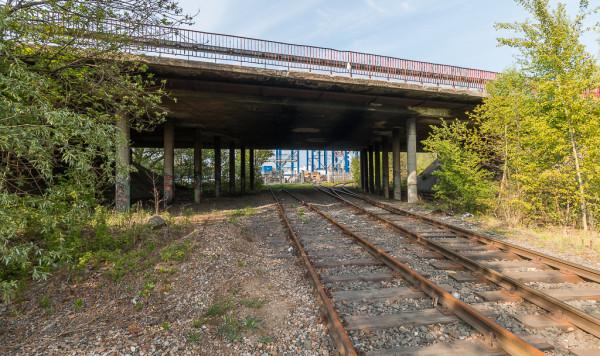Wiadukt nad torami kolejowymi do portu i dawnej trasy SKM w ciągu ul. Krasickiego.