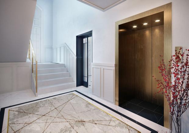 Aranżacja wnętrz części wspólnych podkreśla będzie prestiżowy i elegancki styl budynku.