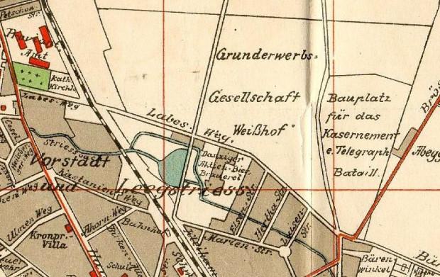 Fragment planu Gdańska z 1912 r. Labesweg wyznacza granicę zwartej zabudowy dzielnicy. Zbiory PAN Biblioteka Gdańska.