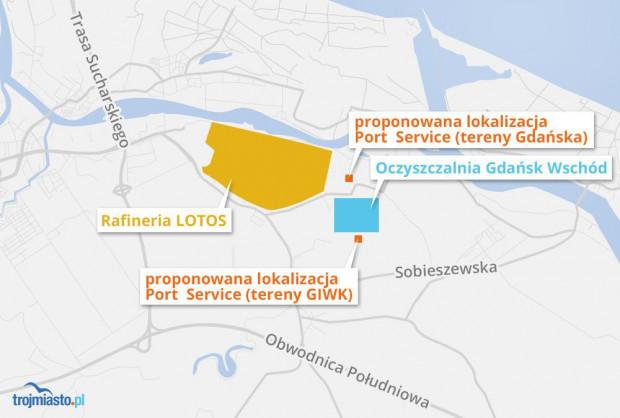 Proponowane nowe lokalizacje Port Service: jedna byłaby usytuowana na południe od oczyszczalni ścieków Wschód (teren w dyspozycji GIWK), druga na terenach znajdujące się na północ od oczyszczalni (własność Gdańska).