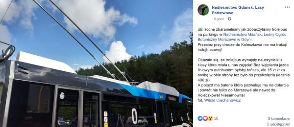 Nadleśnictwo o wizycie trolejbusu poinformowało na swoim profilu.