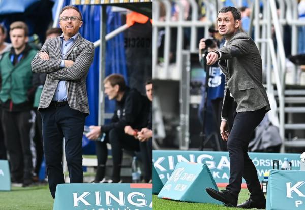 Aleksander Rogić (z prawej) ocenił, że punkt w derbach to udany początek w roli trenera Arki Gdynia. Natomiast Piotr Stokowiec nie krył niedosytu z remisu w meczu, w którym Lechia Gdańsk prowadziła już 2:0.