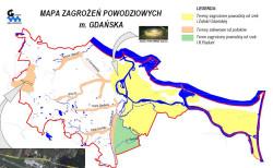 Mapa zagrożeń powodziowych w Gdańsku.
