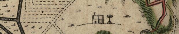 Gdańska szubienica i pal z zatkniętym kołem - fragment planu oblężenia Gdańska, 1734 r.
