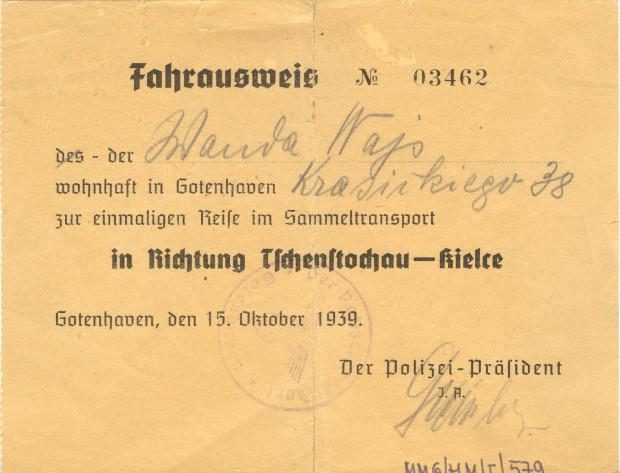 Dokument podróżny wysiedlonej z Gdyni mieszkanki, 15.10.1939 r., Zbiory Muzeum Miasta Gdyni.
