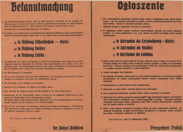 Ogłoszenie informujące o wysiedleniach, 15.10.1939 r., Zbiory Muzeum Miasta Gdyni.