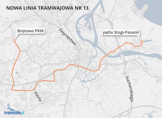 Przebieg planowanej linii nr 13 między Brętowem a Stogami Pasanil.