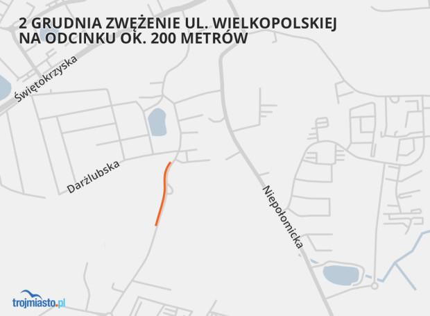 Pierwszy etap robót odbywał się będzie głównie na poboczu i wiązał się będzie z miejscowym zawężeniem pasa jezdni ul. Wielkopolskiej w kierunku skrzyżowania z ul. Ofiar Grudnia 70 i ul. Łuczniczą.
