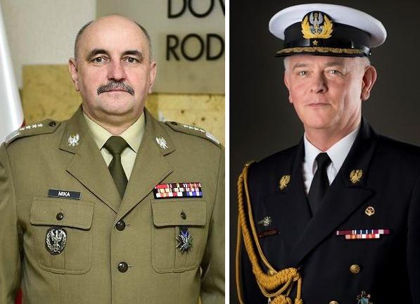 Dowódca Generalny RSZ generał Jarosław Mika i Inspektor Marynarki Wojennej Wiceadmirał Jarosław Ziemiański