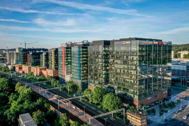 Kompleks Alechemia w Oliwie. Drugi od prawej biurowiec Neon, wybudowany zoatał jako ostatni.