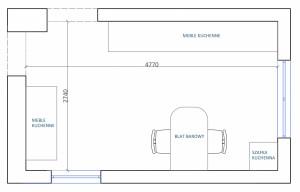 Wymiary i obecny rozkład projektowanego pomieszczenia.