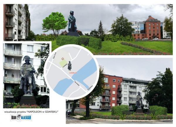 Wizualizacja pomnika Napoleona przy ul. Lastadia przygotowana przez Fundację Napoleona.