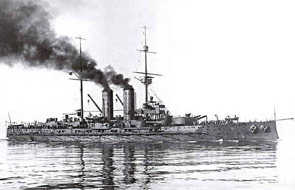 Austro-węgierska jednostka SMS Radetzky, na której służył  młody Ludwik Habaj.
