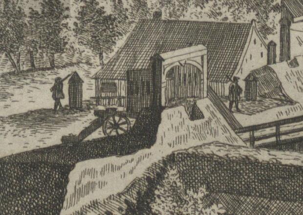 Stanowisko armaty przy Bramie Oliwskiej, rok 1765. Rycina M. Deischa. Zbiory portalu Polona.