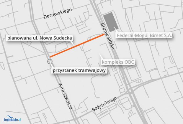 Orientacyjny przebieg nowej ulicy w Oliwie.