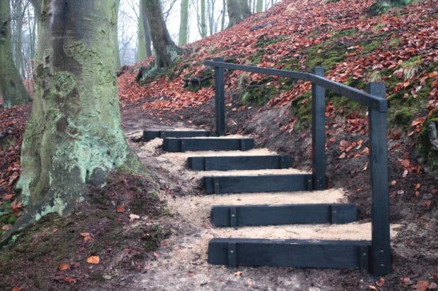 Na ścieżce prowadzącej do punktu widokowego nad Kaczym Dołkiem zbudowano niewielkie schody, które ułatwiają dotarcie do celu.