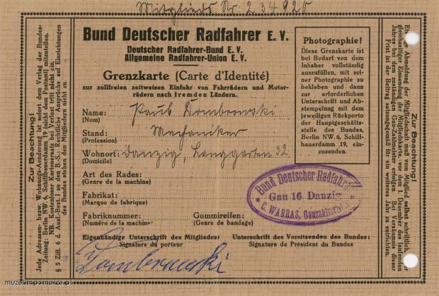 Legitymacja Stowarzyszenie Niemieckich Cyklistów (Bund Deutscher Radfahrer) o numerze 23492 wydana w Gdańsku. Strona wewnętrzna.
