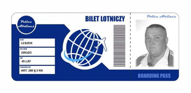 """Policjanci opublikowali wizerunek poszukiwanego mężczyzny z Gdańska w formie """"biletu lotniczego""""."""