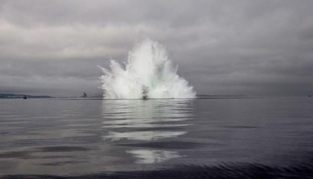 Zdjęcie z detonacji miny morskiej w Zatoce Gdańskiej w styczniu 2016 roku.