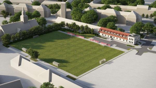 Wizualizacja etapu inwestycji przy ul. Kościuszki, w którym powstać ma pełnowymiarowe boisko i gdzie zamieniony ma być na funkcje sportowe i izbę pamięci istniejący budynek.