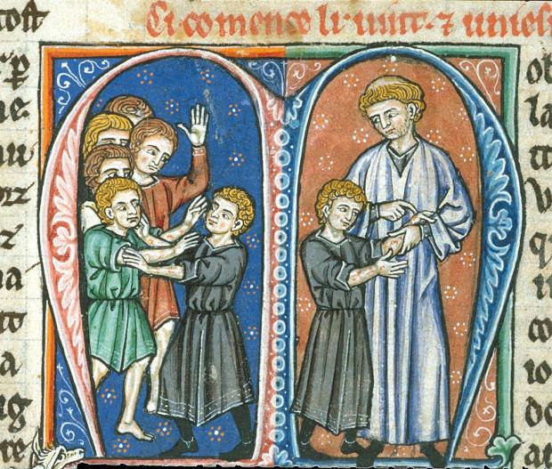 Średniowieczna ilustracja pokazująca, w jaki sposób przyszły król Baldwin IV zaraził się trądem, a następnie moment, gdy Wilhelm z Tyru dostrzegł u młodego Baldwina objawy trądu.