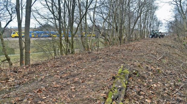 Po lewej obecna trasa kolejowa na lotnisko, na pierwszym planie oczyszczony nasyp kolejowy w kierunku Kokoszek - element planowanego bajpasa kartuskiego.
