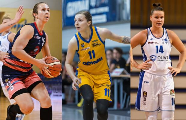 Karolina Strzelczyk z DGT PG (z lewej), Aldona Morawiec z Arki Gdynia (w środku) i Jastina Kosalewicz z AZS UG (z prawej) oceniły szanse swoich drużyn w 19. kolejce Energa Basket Ligi Kobiet.