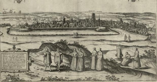 Widok z Góry Gradowej na Gdańsk, rok 1573.