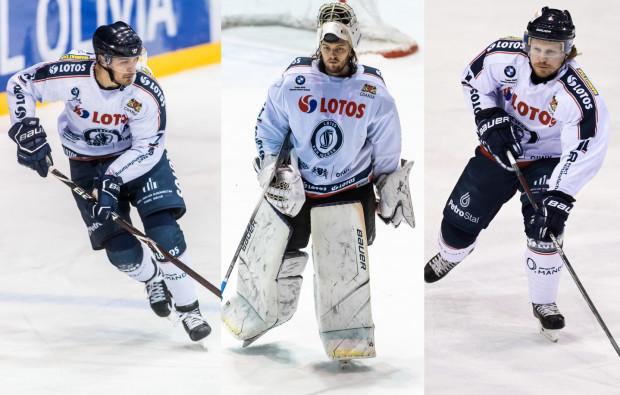 Tomas Fucik (w środku), Szymon Marzec (z lewej) i Petr Polodna (z prawej) to najwyżej oceniani przez was hokeiści Lotosu PKH w sezonie 2019/20.