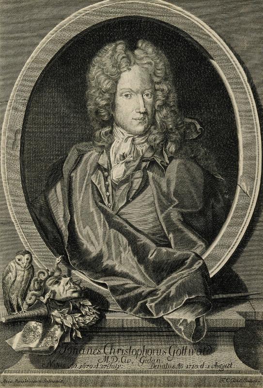 Portret Johanna Christophera Gottwalda, rycina F. C. Göbela za rysunkiem M. Wernerina.
