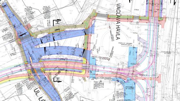 Projekt docelowej organizacji ruchu w obrębie skrzyżowania Havla-Łódzka.