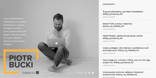 Piotr Bucki jest specjalistą od wystąpień publicznych i szeroko pojętej komunikacji.