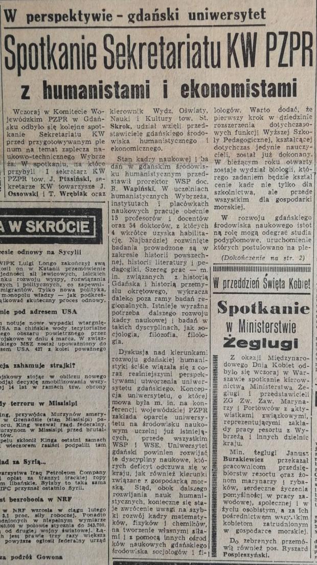 """Artykuł z """"Głosu Wybrzeża"""" z 7 marca 1967 r."""