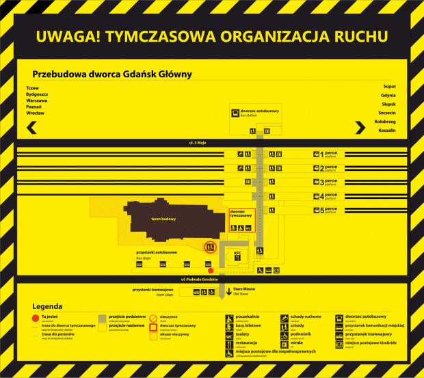 Tymczasowa organizacja ruchu wokół dworca Gdańsk Główny PKP.