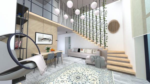 Koncepcja druga. Pełne stonowanych barw i odcieni drewna wnętrze jest obietnicą odprężenia w domowym zaciszu.