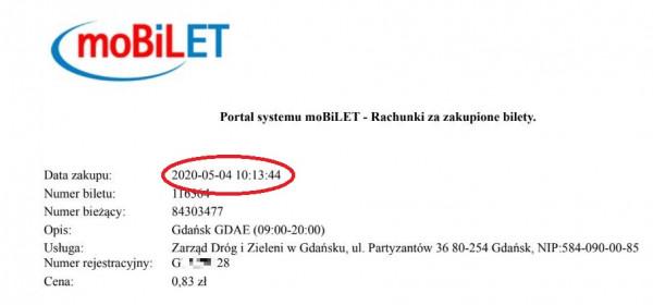 Potwierdzenie wniesionej opłaty przez aplikację z godz. 10:13. Numer rejestracyjny samochodu pana Rafała, kończący się na cyfry 2 i 8.