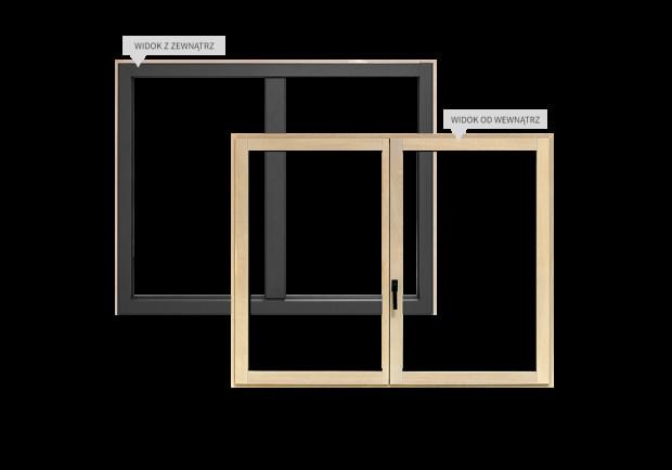 Gdy przeciwieństwa się przyciągają, powstaje rozwiązanie idealne: wąski, elegancki profil drewniano-aluminiowy z ukrytym skrzydłem, dostosowany do wymagań klienta.