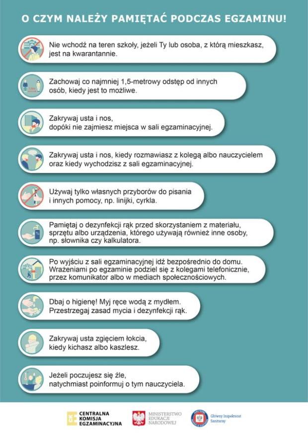 Podstawowe obowiązkowe wytyczne do organizowania egzaminów.