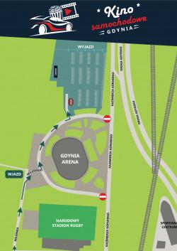 Kino samochodowe zlokalizowane jest na parkingu przy Gdynia Arenie. Wjazd będzie możliwy tylko i wyłącznie od ul. Wileńskiej.